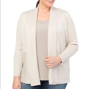 New Contrast Rib Open Front Drape Cardigan Sweater
